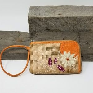 Womens Fossil Leather Wallet With Beaded Flower